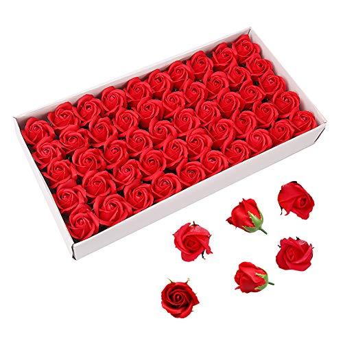 Weiye 50 Stück Seife Rose Blume – Flora duftende Seife Rose Blume – Ätherische Ölseife, Geschenk für Jahrestag/Geburtstag/Hochzeit/Valentinstag rot