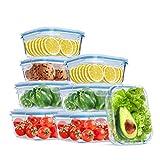 Wemk Contenedores para Alimentos de Vidrio con Tapas, 16 Piezas (8 Envases + 8 Tapas) - 8000 mL Gran...