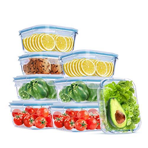 Wemk Récipient en Verre, Boîtes Alimentaires, 16 pièces (8 récipients + 8 couvercles), Grande capacité 8000 ML en Tout, sans fuites, sans BPA, pour la Cuisine ou Le Restaurant
