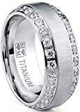 Metal Masters Co. Men's Titanium Dome Brushed Finished Wedding Band Engagement Ring with Cubic Zirconia, 8mm