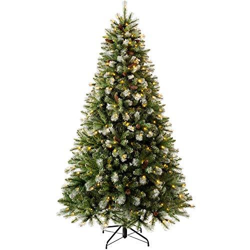 WeRChristmas Pre-lit Brocktion Spurce Christmas Tree, Multi-Function LED Lights, Blue Green, 7 feet/2.1 m