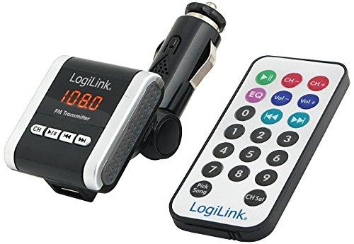 LogiLink FM0001A FM Transmitter, unterstützt SD Card, USB Input & Audio Jack verbindet mit MP3/MP4 Player, unterstützt MP3 und WMA Format