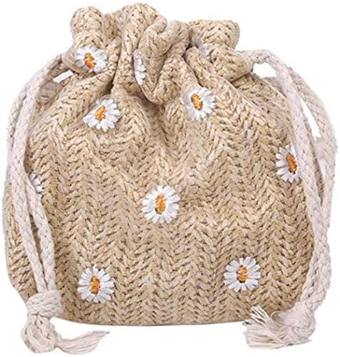 Bolsos de cubo con tejido de paja, bolsos de hombro de playa de verano de ratán para mujer, bolsos de mano, bolsos informales, Mini bolso de hombro Retro-B-2