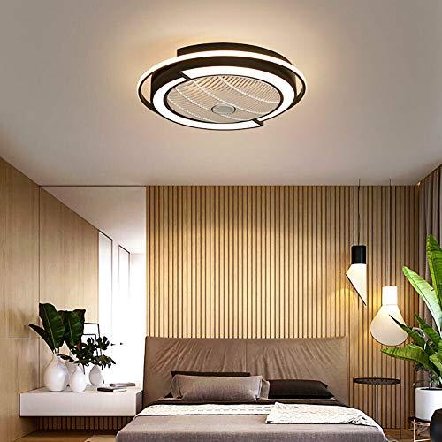 Ventilador de techo de 23 pulgadas, lámpara de techo moderna e invisible, velocidad de ventilador y luces ajustables, motor silencioso, lámpara de techo con mando a distancia para 58 cm/45 W
