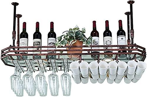 SACKDERTY Wine Rack Acessórios para casa Armário de prateleira de vinho Armário de vinho montado na Parede Altura ajustável com focos de LED Metal Ferro Suporte de vidro para vinho Suporte d