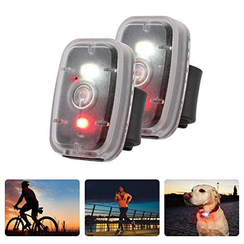 MapleSeeker LED Safety Light USB Rechargeable Running Light for Runners, Bike Tail Light, High Visibility for Cycling, Hiking, Dog Collar and Kids, Clip On Strobe Light with 5 Lighting Modes (2-Pack)