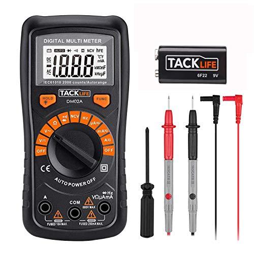 Multimetro Digitale Classico, Tacklife DM02A Multi Tester con Rilevamento di Voltaggio Senza Contatto, Display LCD Retroilluminato, Test per Tensione,