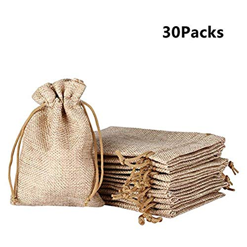 Yenks 50 Burlap Bags with Drawstring 5x37 Small Party Favor Gift Bags Brown Bags Bulk Small Size for Birthday Bag Craft Bags Or Party Jewelry Pouches Bags 1