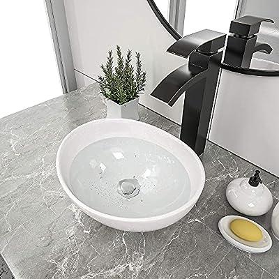 "Couoko 16""x13"" Oval Bathroom Sink Modern Oval Shape Above Counter White Porcelain Ceramic Bathroom Vessel Vanity Sink Art Basin"