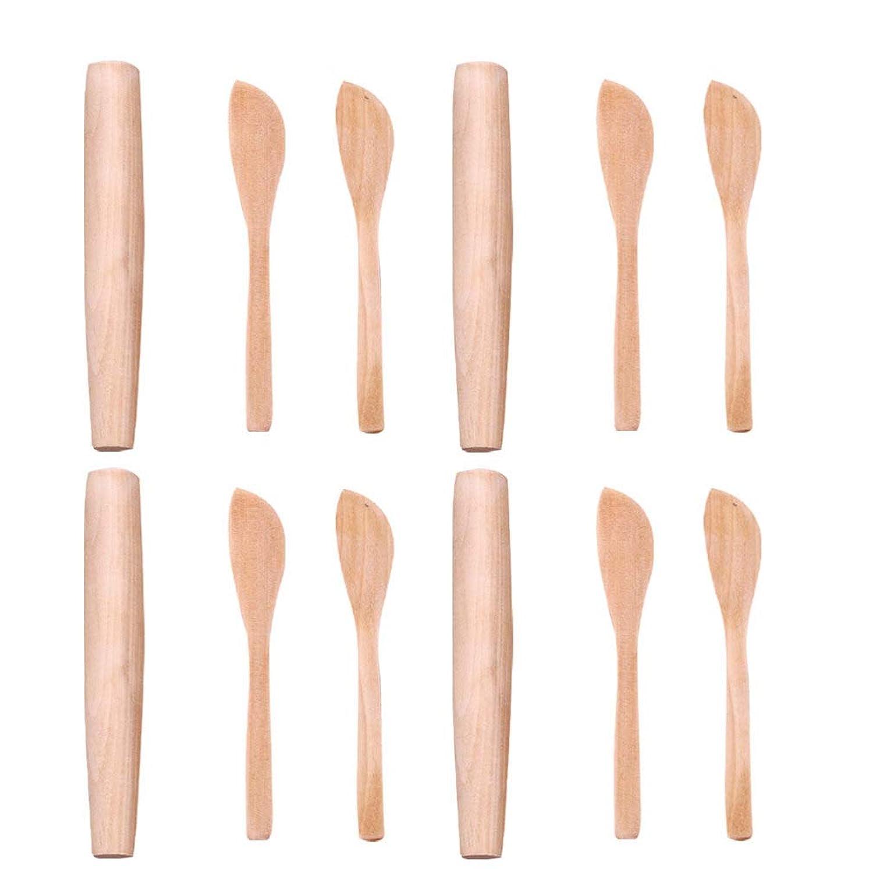 チップ読者常識Cabilock 12ピースフレンチ麺棒木製餃子カッター生地ローラーピザパイクッキー粘土パスタローラーピンベーキングベーカー調理器具