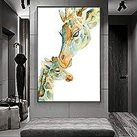 キャンバス絵画キリン動物の壁アート写真プリント母性愛キャンバス壁アート寝室用キャンバスプリント