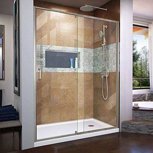 Flex 36 in. D x 60 in. W x 74 3/4 in. H Semi-Frameless Shower Door in Brushed Nickel with Right Drain White Base Kit - DreamLine DL-6225R-04