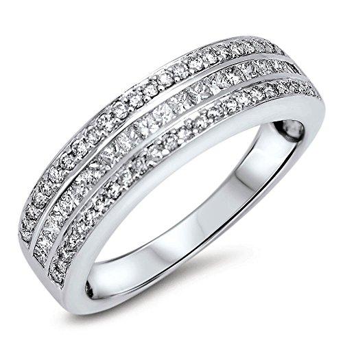 Diamant Ring Memory Brllantring aus Gold 750 Weißgold 18 Karat - Memoire -Verlobungsring - Ehering 0,50 ct VVS Farbe G-H +Zertifikat