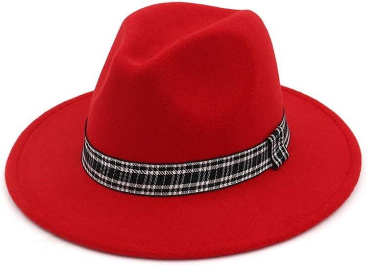 HXGAZXJQ Women Men Wool Fedora Hat with Striped Satin Wide Brim Wool Church Fascinator Hat Panama Jazz Hat (Color : Red, Size : 56-58)