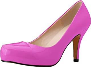 Vimedea Womens Round Toe Slip On Heeled Pumps Wedding Bride Comfort OL Party Dress Shoes
