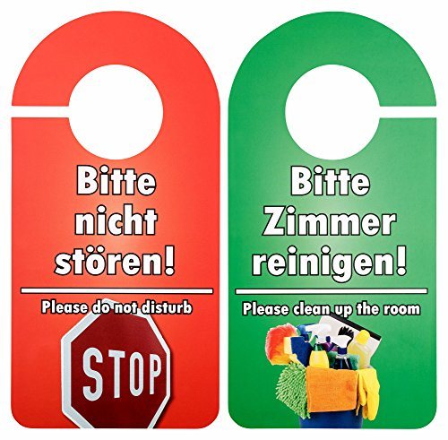 25 Stück Türschild Hotel Bitte nicht stören - Zimmer aufräumen rot / grün