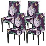 Juego de 4 fundas de silla para comedor, diseño abstracto de gato, elástico, fundas de silla lavables, protector de asiento extraíble para cocina, hotel, restaurante, fiesta ceremonia