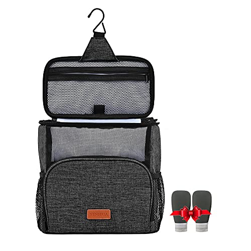 Shower Caddy Tote Bag, Hanging Toiletry Bags of Extra Large,Water-resistant Easy Dry , Portable -with 2 Pack Silicone Travel Bottles for Women & Men (Black)