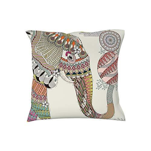 NiTIAN kussensloop 45x45 cm kwaliteit zachte sierkussenslopen in polyester witte olifantprint voor bank slaapkamer auto