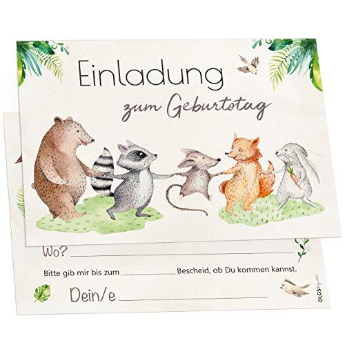 12 Tierfreunde Einladungskarten inkl. Umschläge perfekte Einladung zum Kindergeburtstag oder Kinder Party | Geburtstag-Einladungen zum ausfüllen (Tierfreunde)