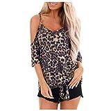 Warmword Camisetas Mujer Cuello en V Camisetas Blusa Top Corto con Estampado de Leopardo Hombro perdido Anudado Manga Corta Camiseta Moda Femenina