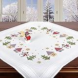 Ernst Schäfer Stickpackung WINTERDORF, Kreuzstich Tischdecken Set vorgezeichnet zum Sticken, Stickset zum Selbersticken zur Adventszeit und Weihnachten