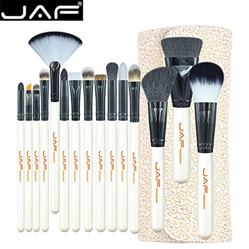 JAF 15PCS / Set Fard À Paupières Portable Fard À Paupières Fond De Teint Poudre Cosmétique Brosse Noir & Beige Blanc