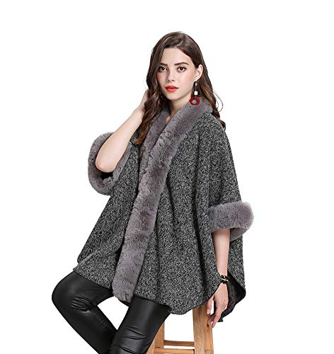FOLOBE Women Faux Fur Cloak Poncho Cape Gray