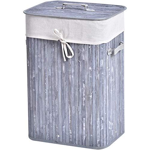 HOMCOM Wäschekorb, Wäschebox, Wäschesammler mit Deckel, Segeltuchsack, Bambus, faltbar, 72L, Grau, 40 x 30 x 60 cm