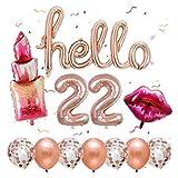 YSJSPKK Globos 12pcs / Set Labios del lápiz Labial Hoja hincha Conjunto Hola 22 26 30 Número Fiesta de cumpleaños Globo Boda de Oro Rosa Decoración Aire Globos (Color : 22)