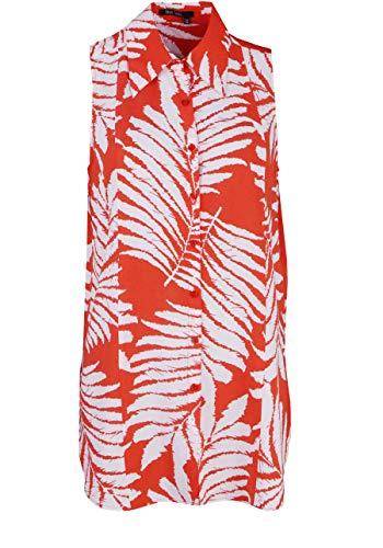 Marc Aurel ärmellose Bluse Hemdkragen Knopfleiste Floral-Print weiß Größe 44