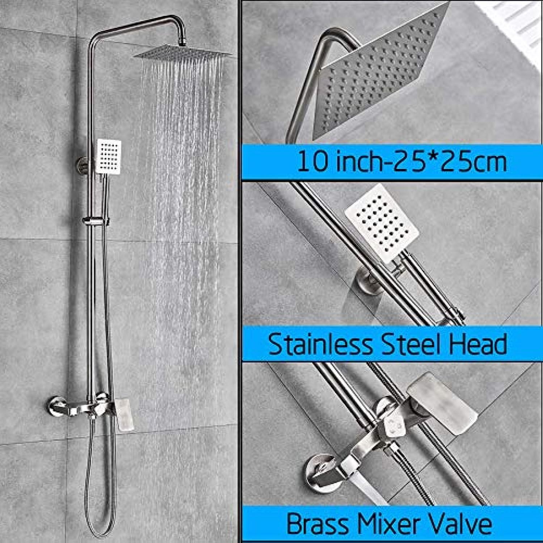 LWSFZAS Nickel gebürstet Brausebatterie Set Wandmontage Badewanne Duschset Regenduschkopf Wasserhahn Ablage Messing 3-WegeMischventil 10 Zoll Brausebatterie