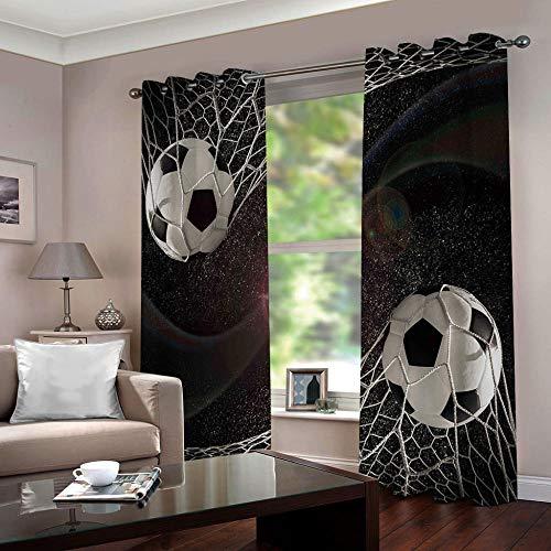 SFALHX Vorhang Schlafzimmer Fußball Gardine Blickdicht Thermo Vorhang Kinderzimmer Gardinen Junge Mädchen Ösenvorhang 2 Stücke/B117 x H138cm