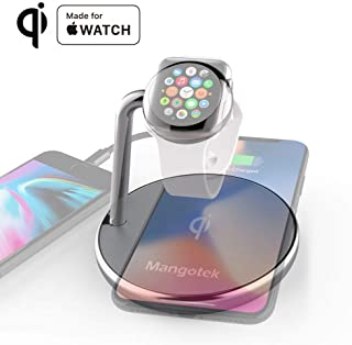 Mangotek Wireless Phone Watch Charger Pad, 3 in 1 Charging Station for iPhone 8/