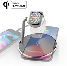 Mangotek Watch Charger and iPhone Wireless Charging Station, Qi Fast Charge Dock Pad Stand with Watch Magnetic Charger Module and USB Port for Apple iWatch,iPhone 11/11 Pro/X/XS/XR/8, MFi Certificat