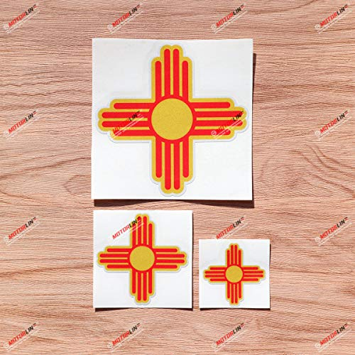 New Mexico State Flag NM Ancient Zia Sun Vinyl Decal Sticker - 3 Pack Reflective, 2 Inches, 3 Inches, 5 Inches - for Car Boat Laptop Cup Phone