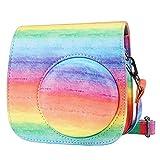 Cpano Mini Borsa per fotocamera in pelle PU per Fujifilm Instax Mini 11/Mini 9/Mini 8/ fotocamera a pellicola istantanea, con tracolla regolabile. (arcobaleno)