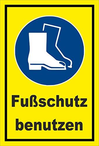 Schild - Gebots-zeichen - Fuss-schutz benutzen - entspr. DIN ISO 7010 / ASR A1.3 – 30x20cm | stabile 3mm starke PVC Hartschaumplatte – S00361-016-C +++ in 20 Varianten