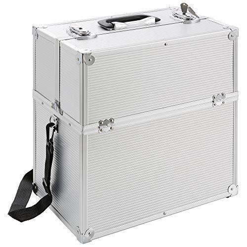 Neuf Pro Aluminium COSMÉTIQUE 2 Couches COFFERT Valise BEAUTÉ Case (Argent)