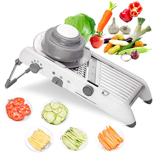 HARUE Mandoline slicer - Adjustable Thickness Potato Slicer, Vegetable Cutter, Vegetable Mandoline Slicer Best Seller, Food Waffle - Sharp Stainless Steel Blades(White)