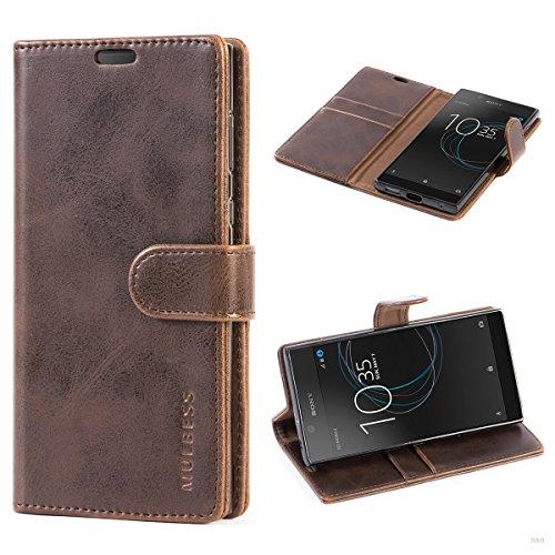 Mulbess Handyhülle für Sony Xperia L1 Hülle, Leder Flip Case Schutzhülle für Sony L1 Tasche, Vintage Braun