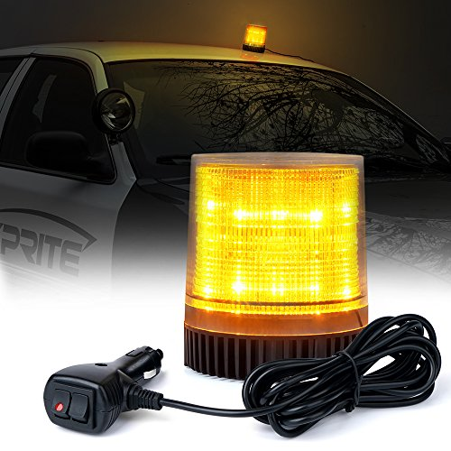 Xprite Amber/Yellow 12 LEDs Rotating Beacon Strobe Light w/Magnetic Mount, Revolving Warning Flashing Light for Emergency Caution Vehicle Snowplow Forklift Truck Tractor UTV Car Bus