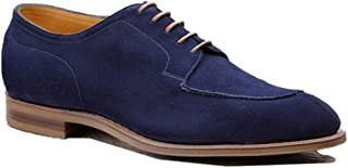 Costoso Italiano Navy Blue Suede Formal Lace Up Derby Goodyear Welted Shoes for Men