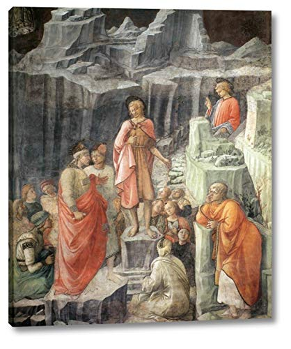"""St John Taking Leave of His Parents Detail by Fra Filippo Lippi - 13"""" x 16"""" Gallery Wrap Canvas Art Print - Ready to Hang"""