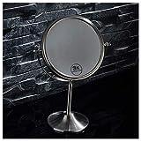 ROSG Espejo de baño Espejo de Maquillaje 3X Ampliación HD de Doble Cara de Acero Inoxidable Sala de Estar Dormitorio Dormitorio 360 Grados;Espejo Giratorio portátil Espejo de Princesa Espejo por