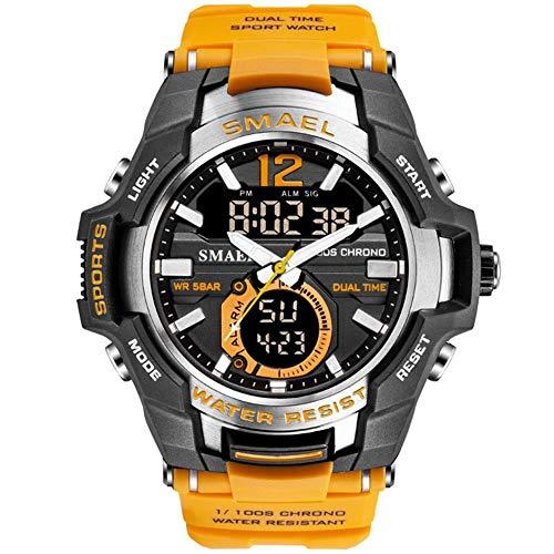 SMAEL Hombres Relojes Analógico De Doble Pantalla De Cuarzo Reloj Deportivo A Prueba De Agua 50M Reloj De Pulsera Militar Reloj Digital Militar Ejército Relojes (Naranja),Naranja