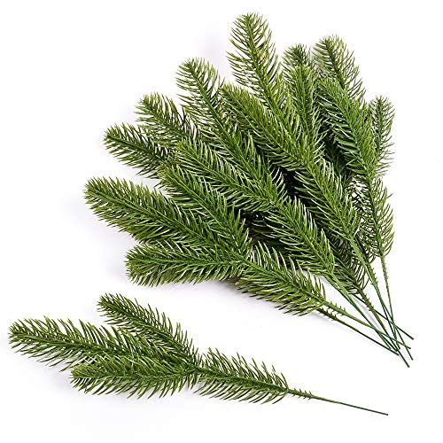 Lifreer 24Pcs Artificial Pine Tree Branches Plastic Fake Pine Picks Pine Needle Garland Fake Plant Flower for Garland Wreath Christmas Embellishing and Home Garden