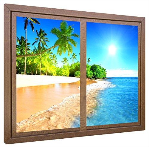 CCRETROILUMINADOS Playa Desierta Cuadros Decorativos Ventanas Falsas Retroiluminadas, Madera, Nogal, 80 x 60 x 6.5