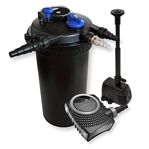 WilTec Kit de Filtration Bassin à Pression 30000l Stérilisateur UVC 18W 70W Pompe éco Fontaine