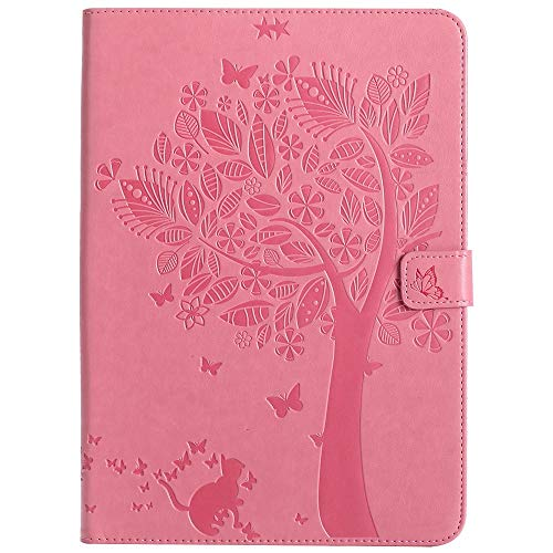 Wangqianli For IPad 9.7 Inch 2017/2018 (5th/6th Generation)/iPad Air 2/iPad Air Tablet Case PU Leather Flip Wallet Auto Sleep/Wake Stand CoverCreative Tree Cat Embossed Design (Color : Pink)